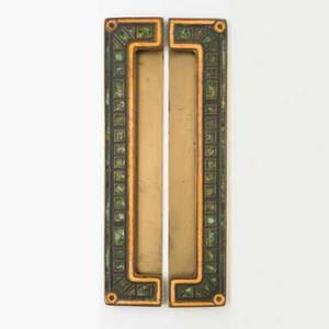 Tiffany studios art deco blotter ends parcelgilt bronze and enamel stamped louis c tiffany furnaces inc 355a 2 12 x 12 14