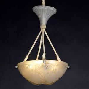 Lalique coquilles frosted glass plafonnier complete with ceiling cap m p 672 no 2460 etched r lalique france overall 24 x 11 12 shade 5 x 11 12