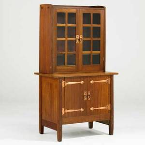 Gustav stickley safecraft twopart mahogany cabinet and bookcase red decal 63 x 35 x 21