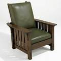 L  jg stickley morris chair no 498 with dropin spring seat remnants of illegible paper label 40 x 32 x 36