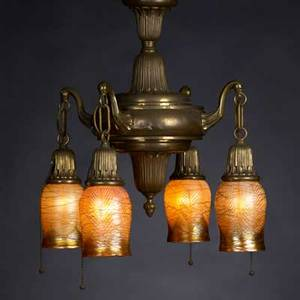 Quezal four threaded art glass shades with hanging fixture shades signed fixture unmarked shades 5 x 3 12 fixture 29 x 16