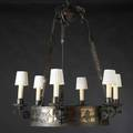 Arts  crafts large chandelier with poloplaying vignettes patinated wrought iron mica stained oak waxed cylinders stamped numbers overall 66 12 x 35 dia
