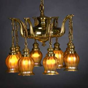 Steuben eight gold aurene glass shades with hanging fixture shades etched fixture unmarked shades 5 12 x 4 12 overall 30 12 x 19