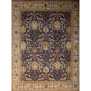 Style of william morris contemporary roomsize rug with floral pattern in plum rust and cream unsigned 9 x 12