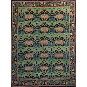 Style of william morris contemporary roomsize rug with floral pattern in green black and mauve unsigned 12 x 92