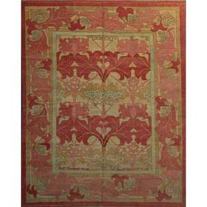 Style of william morris contemporary roomsize rug with geometric floral pattern in white and rose unsigned 119 x 96