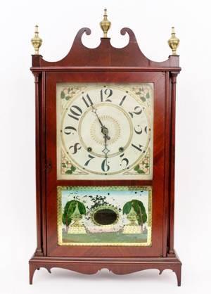 Federal Mahogany Pillar  Scroll Clock Eli Terry