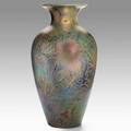 Jacques sicard weller massive sand jar painted with vines and thorns provenance possibly from the weller theater zanesville oh signed s a weller 32 12 x 17