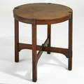 Gustav stickley lamp table with arched cross stretchers branded mark 29 x 30 dia