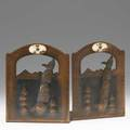 Albert berry pair of pierced bookends with totems hammered copper and fossilized bone stamped berrys craftshoptheir markseattle with artists cipher 6 14 x 5 x 4 12
