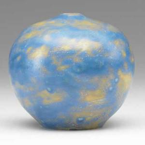 Mabel and edward lewis university city spherical porcelain vase blue and amber matte glaze signed m and el 5 x 5