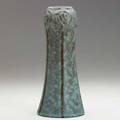 Van briggle vase with poppies curdled blue glaze 1907 aavan brigglecolo springs1907 8 34 x 3 12