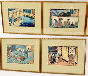 Group of Four Japanese Figural Woodblock Prints