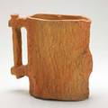 George ohr rare and early bisque fired molded pitcher tree trunk pattern stamped several times 9 12 x 11 12