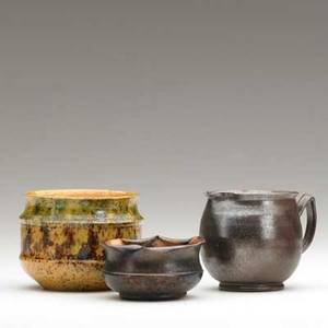 George ohr three small glazed vessels all marked largest 2 34 x 3 12