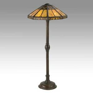 Limbert rare floor lamp hammered copper caramel slag glass unsigned 60 x 25