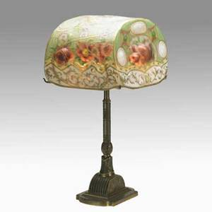 Pairpoint puffy table lamp with pansies and roses reversepainted glass and patinated metal shade signed the pairpoint corp base signed pairpoint mfg co b3053 27 x 15 x 11 12