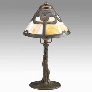 Handel arts and crafts boudoir lamp patinated copper caramel slag glass unmarked 15 x 8 12