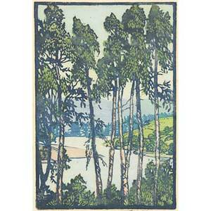 Frances h gearhart color linoleum block print in the pajaro 1925 matted pencil signed and titled image 10 14 x 7