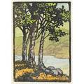 Frances h gearhart color linoleum block print of oak trees by a mountain lake ca 1925 matted unsigned image 5 x 3 12