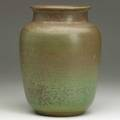 Charles f binns large stoneware vase in green and brown matte crystalline glaze 1915 provenance litchfield historical society signed and dated museum numbers 9 x 6 12