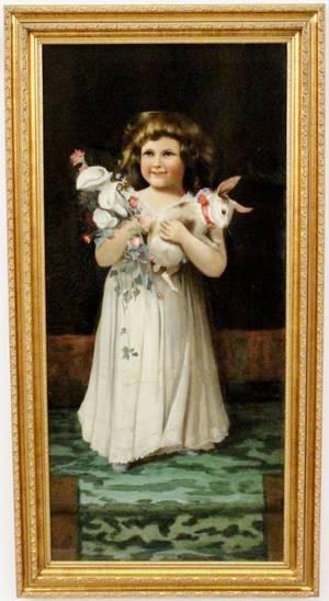 American School Oil of Girl Holding Rabbit