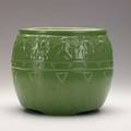 Roseville matte green jardiniere with classical frieze unmarked 8 12 x 10