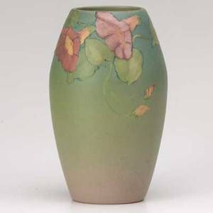 Weller hudson vase decorated by e hood marked and signed e hood 8 12 x 5