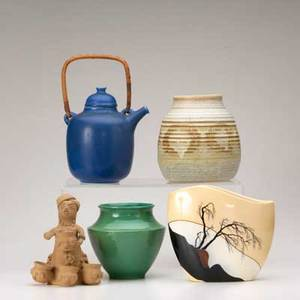 Art pottery five pieces cowan vase frode bahnsen teapot alan vigland vase russ keich vase and earthenware folk art woman with piggy pots all marked tallest 10 12