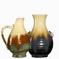 Fulper two ridged vessels ivory and mahogany flambe glazes vertical marks 10 14 x 7 12 and 12 12 x 8