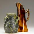 Fulper threehandled urn with mottled gunmetal and green glaze stamped fulper together with wannopee pitcher with brown and ochre glaze impressed mark fulper 7 18 x 5 dia