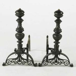 Andirons pair in brass bronze and wroughtiron unmarked each 26 x 14 x 26