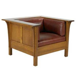Contemporary stickley prairie armchair with long corbels paneled back and sides leather cushions branded mark 27 x 39 x 36