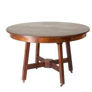 Limbert extension dining table with circular top and crossstretcher base branded mark 30 x 48 dia