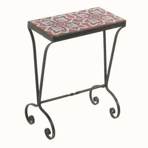 Tile top table with two geometric tiles set in a wroughtiron base unmarked 21 x 16 x 8 14