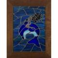 Leaded glass windows two pieces one mermaid riding a dolphin the other a nude siren both signed laura sinks 1976 larger 31 12 x 23 34