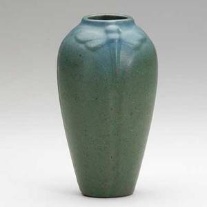 Van briggle ovoid vase with moths blue and green glaze 190811 provenance van briggle pottery aa van briggle colo spgs 596 6 34 x 3 34