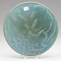Van briggle experimental plate with grapes and leaves blue purple and green glaze provenance van briggle pottery paper label 8 dia