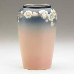 Charles mclaughlin rookwood vellum vase decorated with a band of cherry blossoms flame mark and artists signature 7 x 4 14