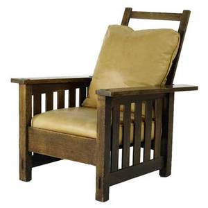 Stickley bros morris chair with vertical underarm slats dropin leather seat and back cushion unmarked 41 x 30 12 x 30
