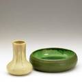 Grueby clifton two pieces grueby ribbed low bowl and clifton corseted vase each with impressed mark low bowl 2 12 x 8 14