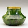 George ohr squat vessel with mottled green glaze stamped ge ohr biloxi 2 34 x 4