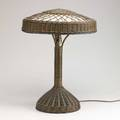 Arts  crafts wicker table lamp lined with silk taffeta unmarked 22 x 16 dia