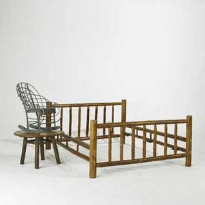 Old hickory fullsized bed and round side table together with a childs adirondack twig rocker unmarked bed 33 x 61 x 80