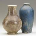 Volkmar two pieces white porcelain baluster vase in mottled green and purple glaze together with blue mottled baluster vase volkmar signed and dated 1938 volkmar 6 18 x 3 14 dia