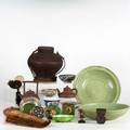 Asian decorative grouping approx nineteen pieces 19th20th c two large celadon bowls five piece cloisonne etc tallest 9 12