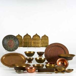 Metal decorative arts approx twenty pieces 19th20th c primarily middle eastern copper brass and bronze tallest 6 34