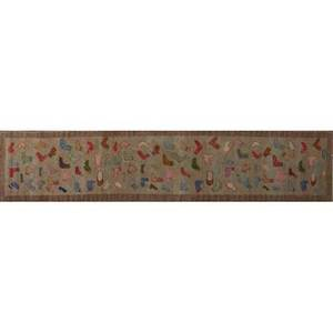 Oriental runner chinese runner decorated with assorted colored socks on a beige background 142 x 31
