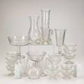 Aesthetic movement glass approximately twenty four pieces two vases by thomas webb one webb piece signed tallest 12 x 4 34