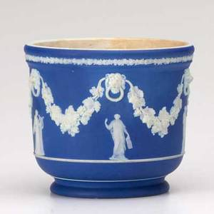 Wedgwood jasperware cache pot with applied greek muses 20th c marked 5 14 x 6 14